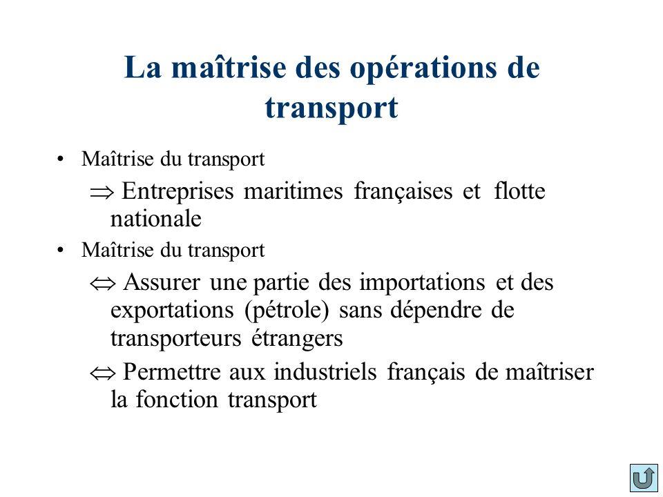 La maîtrise des opérations de transport Maîtrise du transport Entreprises maritimes françaises et flotte nationale Maîtrise du transport Assurer une p