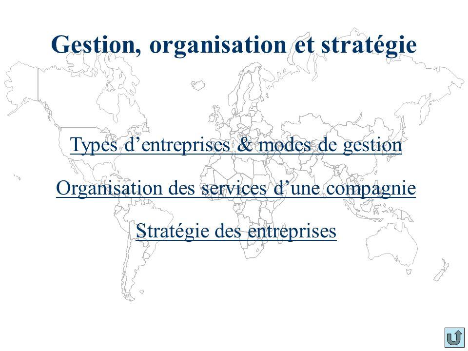 Gestion, organisation et stratégie Types dentreprises & modes de gestion Organisation des services dune compagnie Stratégie des entreprises