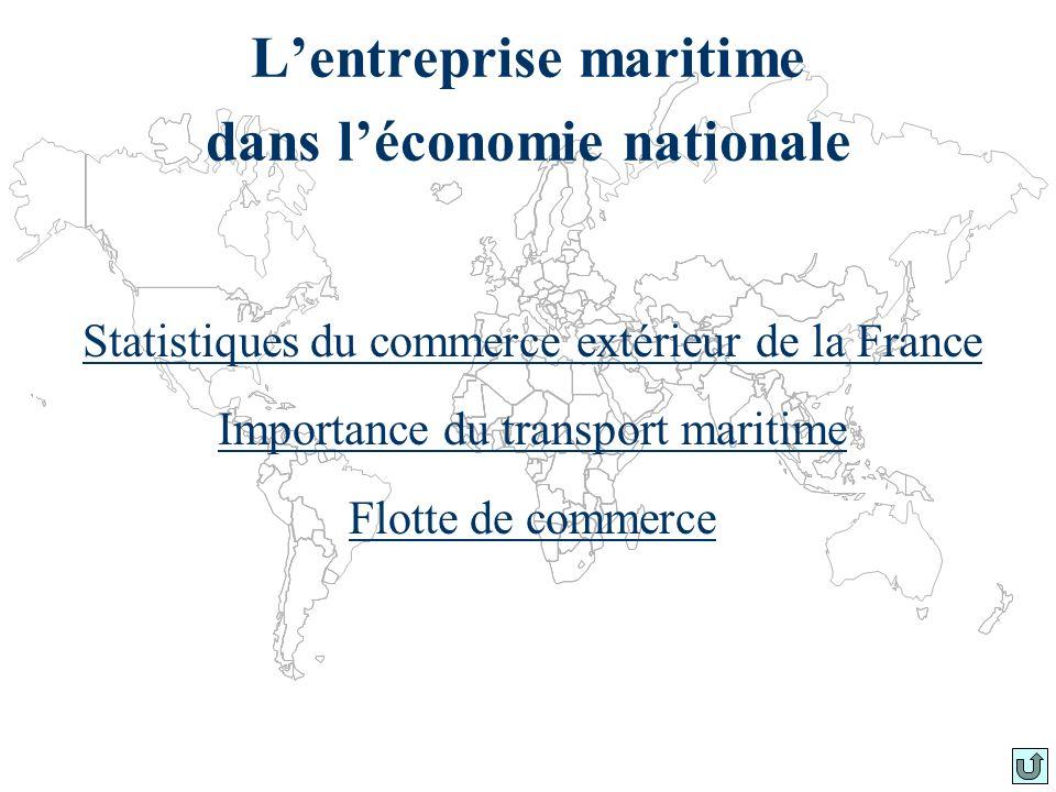 Lentreprise maritime dans léconomie nationale Statistiques du commerce extérieur de la France Importance du transport maritime Flotte de commerce