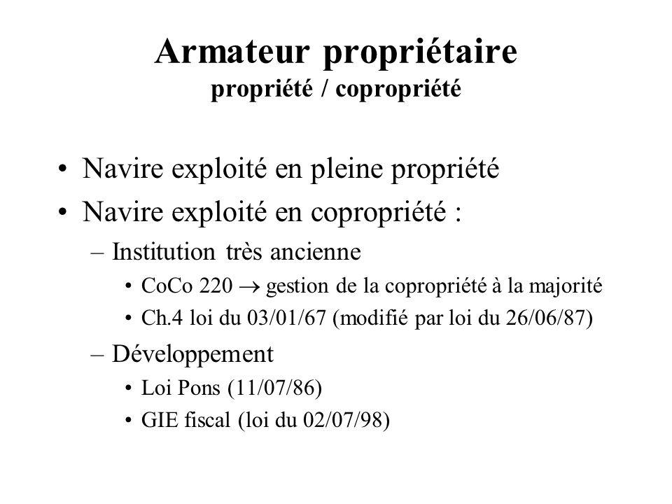 Armateur propriétaire propriété / copropriété Navire exploité en pleine propriété Navire exploité en copropriété : –Institution très ancienne CoCo 220