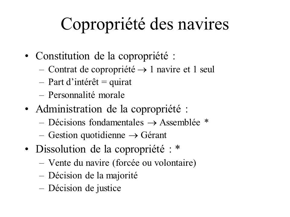 Copropriété des navires Constitution de la copropriété : –Contrat de copropriété 1 navire et 1 seul –Part dintérêt = quirat –Personnalité morale Admin