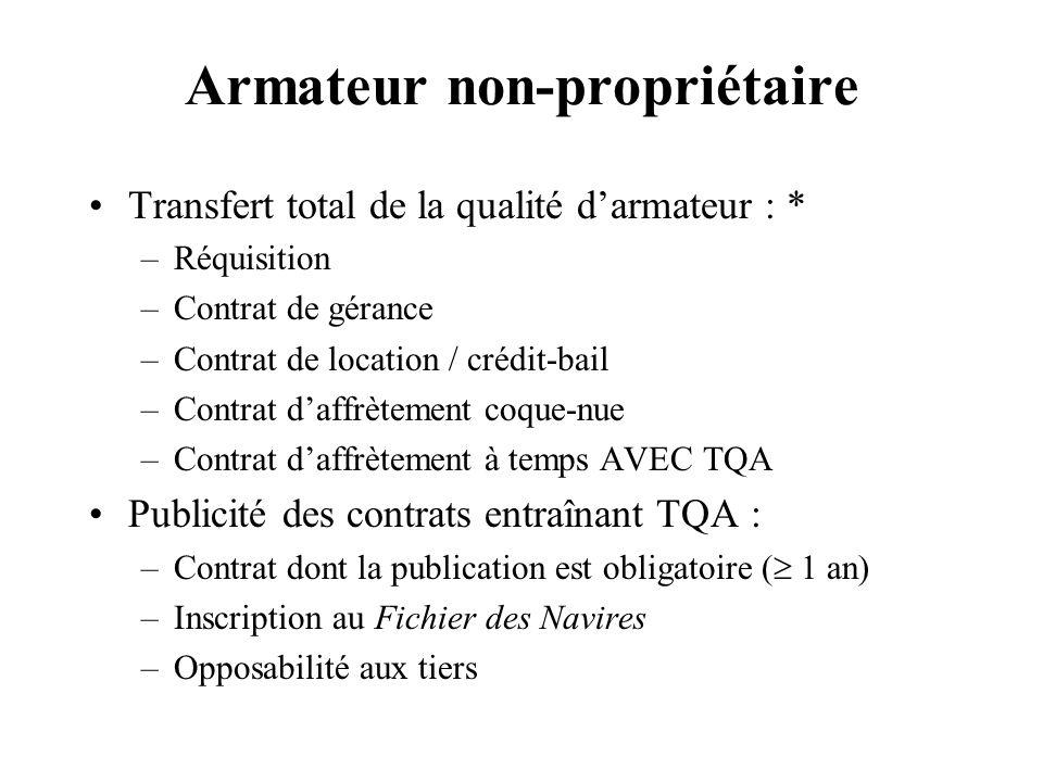Armateur non-propriétaire Transfert total de la qualité darmateur : * –Réquisition –Contrat de gérance –Contrat de location / crédit-bail –Contrat daf