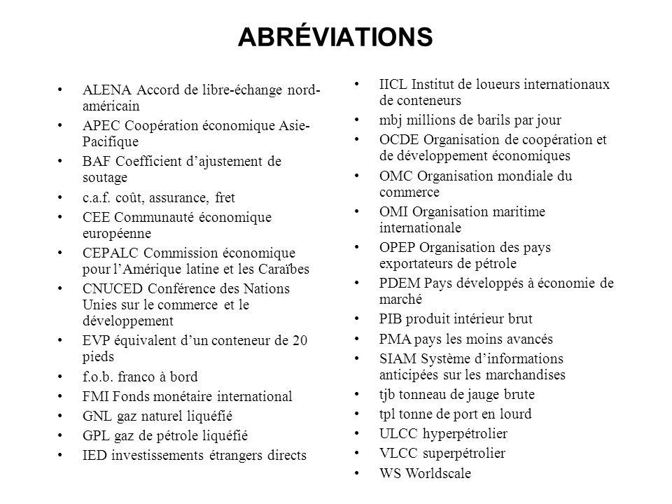 ABRÉVIATIONS ALENA Accord de libre-échange nord- américain APEC Coopération économique Asie- Pacifique BAF Coefficient dajustement de soutage c.a.f. c