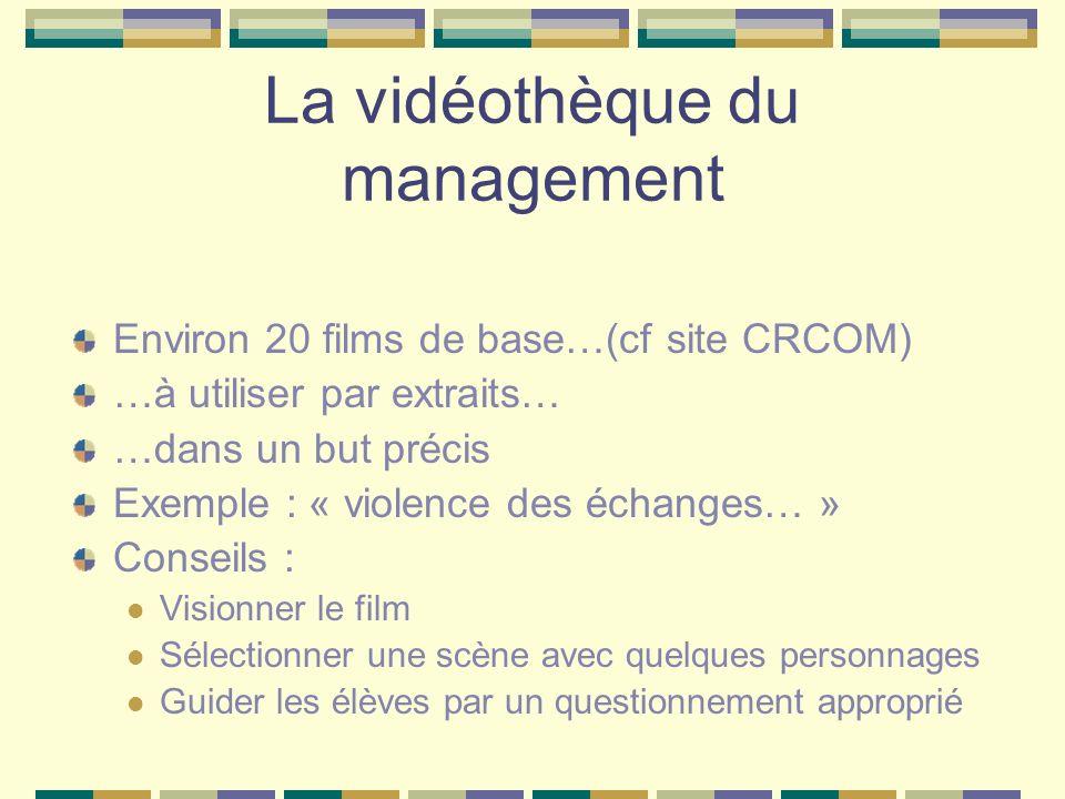 La vidéothèque du management Environ 20 films de base…(cf site CRCOM) …à utiliser par extraits… …dans un but précis Exemple : « violence des échanges…