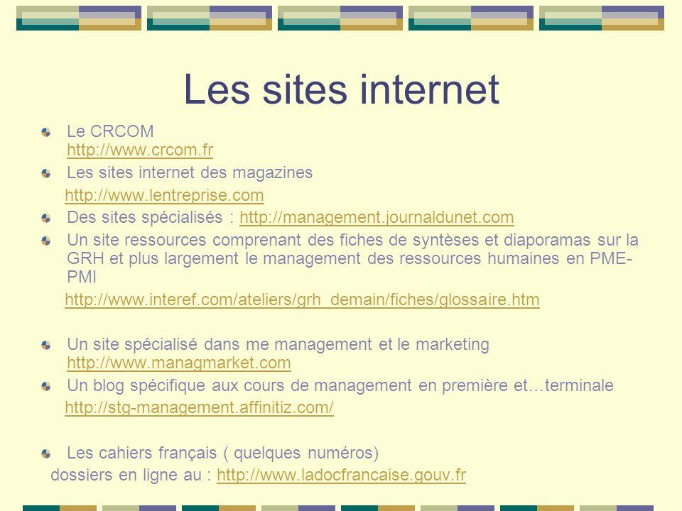 Les sites internet Le CRCOM http://www.crcom.fr http://www.crcom.fr Les sites internet des magazines http://www.lentreprise.com Des sites spécialisés