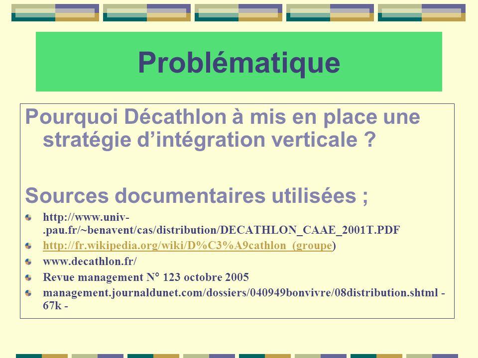 Problématique Pourquoi Décathlon à mis en place une stratégie dintégration verticale ? Sources documentaires utilisées ; http://www.univ-.pau.fr/~bena