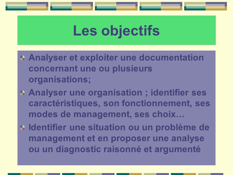 Les objectifs Analyser et exploiter une documentation concernant une ou plusieurs organisations; Analyser une organisation ; identifier ses caractéris