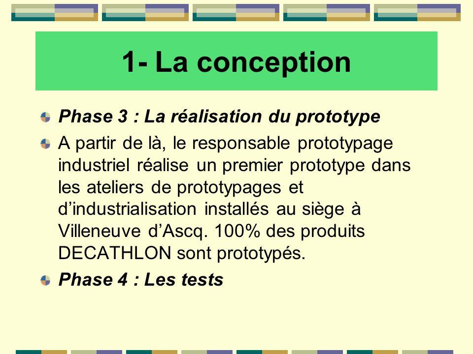 1- La conception Phase 3 : La réalisation du prototype A partir de là, le responsable prototypage industriel réalise un premier prototype dans les ate