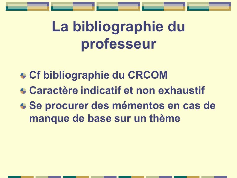 La bibliographie du professeur Cf bibliographie du CRCOM Caractère indicatif et non exhaustif Se procurer des mémentos en cas de manque de base sur un
