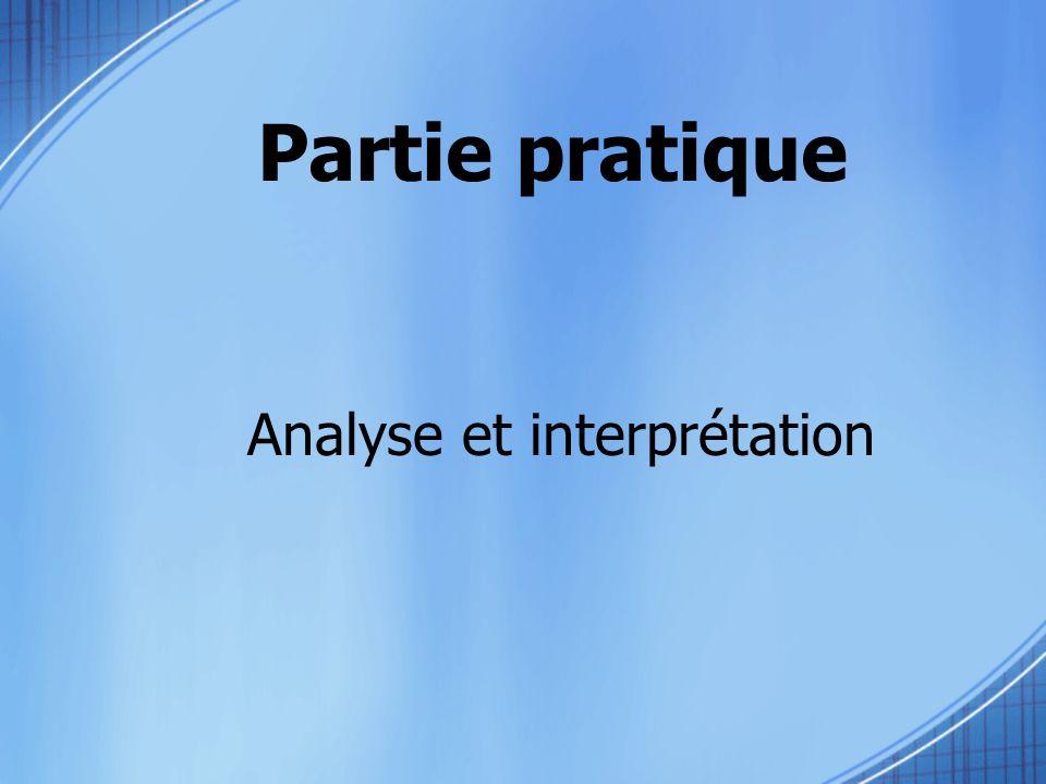 Partie pratique Analyse et interprétation