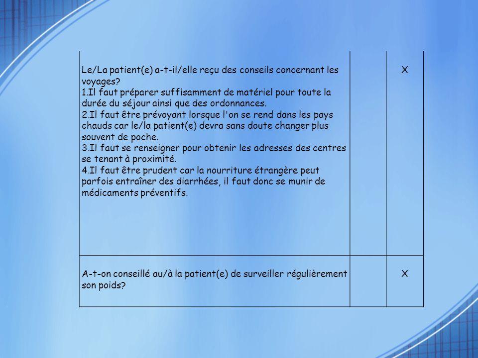 Le/La patient(e) a-t-il/elle reçu des conseils concernant les voyages? 1.Il faut préparer suffisamment de matériel pour toute la durée du séjour ainsi