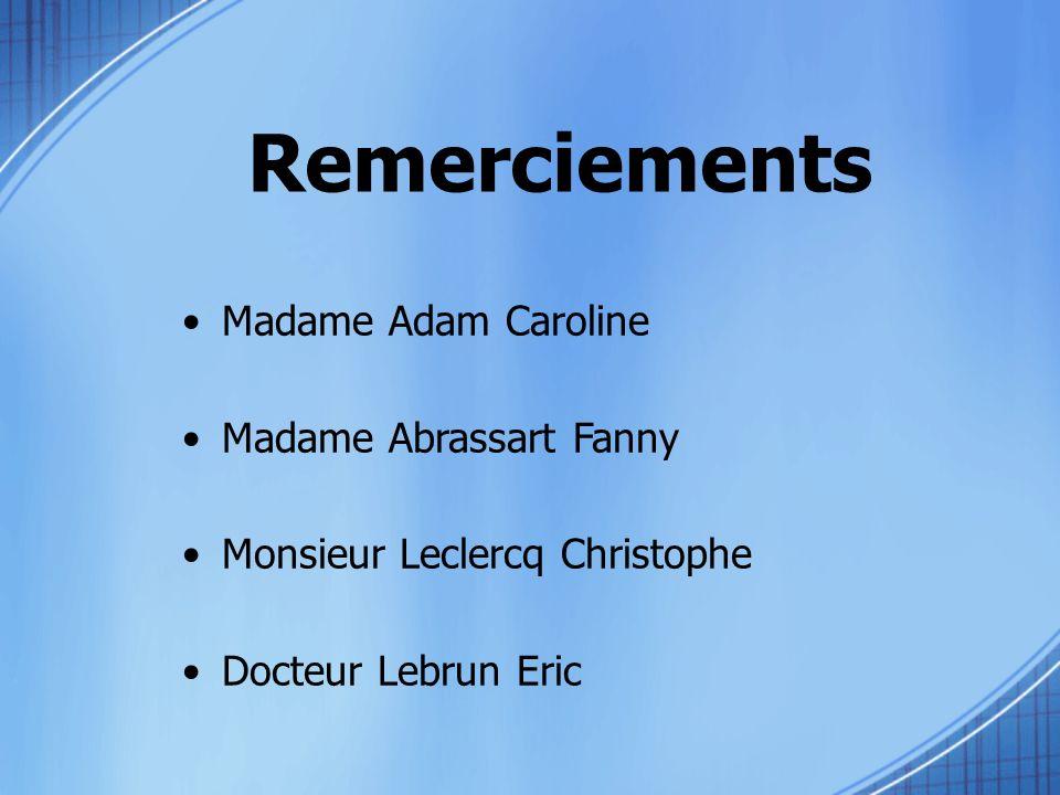 Remerciements Madame Adam Caroline Madame Abrassart Fanny Monsieur Leclercq Christophe Docteur Lebrun Eric