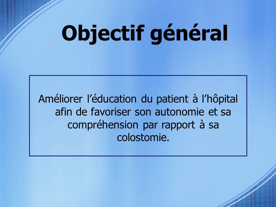 Objectif général Améliorer léducation du patient à lhôpital afin de favoriser son autonomie et sa compréhension par rapport à sa colostomie.