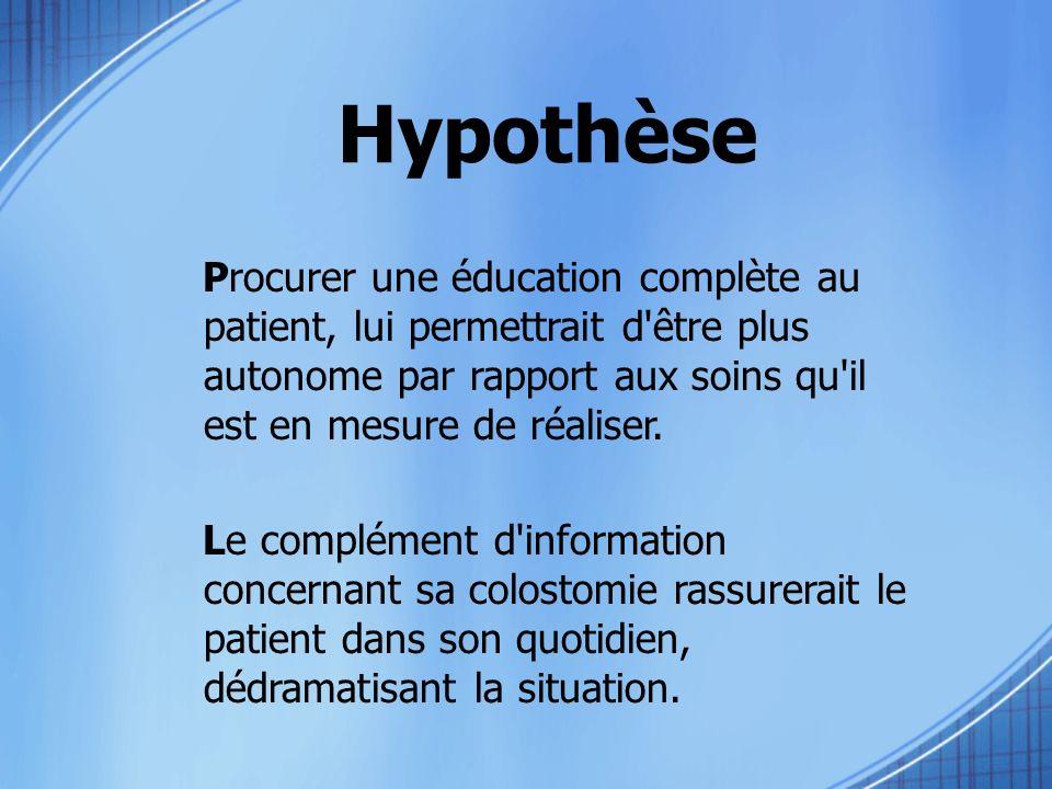 Hypothèse Procurer une éducation complète au patient, lui permettrait d'être plus autonome par rapport aux soins qu'il est en mesure de réaliser. Le c