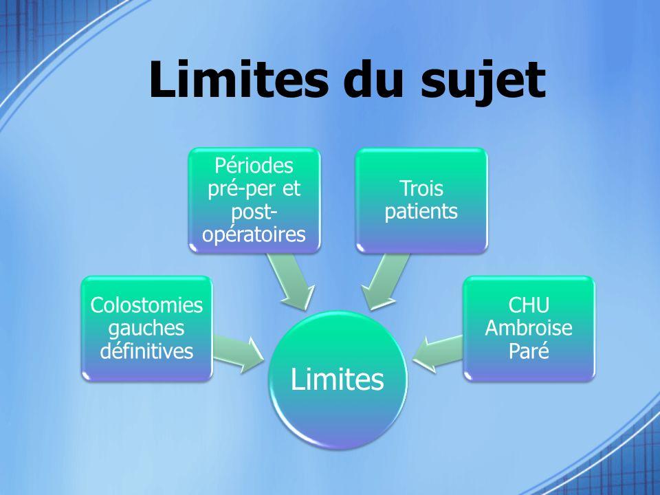 Limites du sujet Limites Colostomies gauches définitives Périodes pré-per et post- opératoires Trois patients CHU Ambroise Paré
