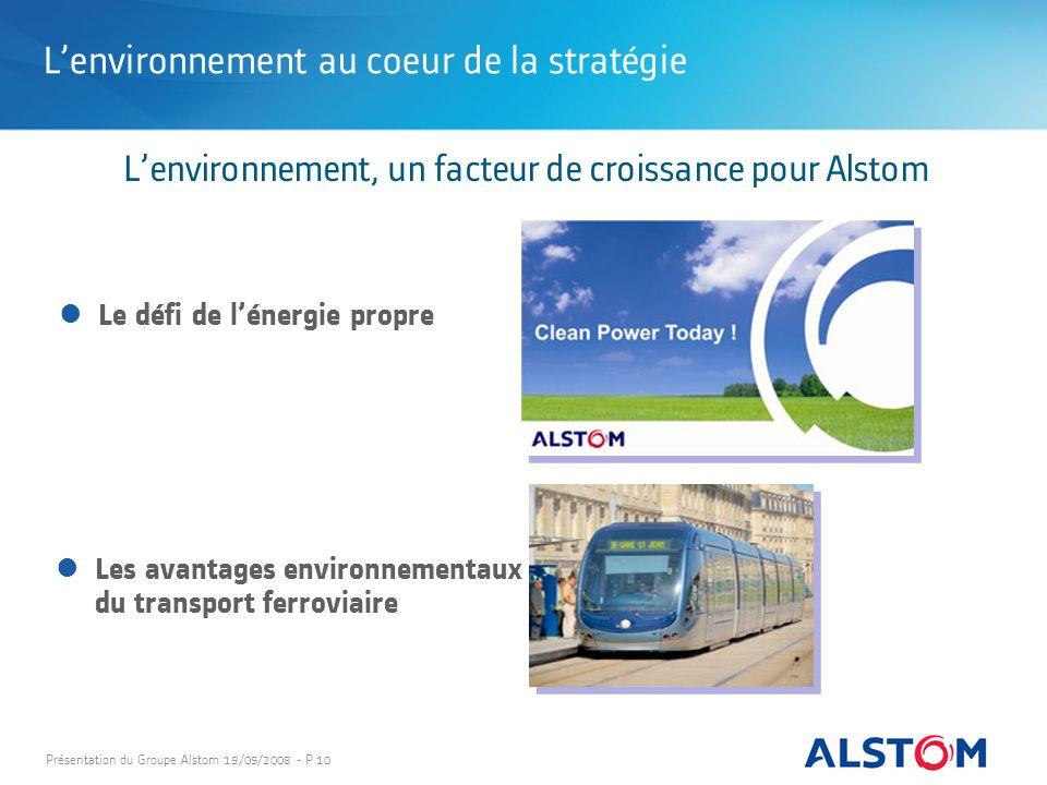 Présentation du Groupe Alstom 19/05/2008 - P 10 Lenvironnement au coeur de la stratégie Lenvironnement, un facteur de croissance pour Alstom Le défi d