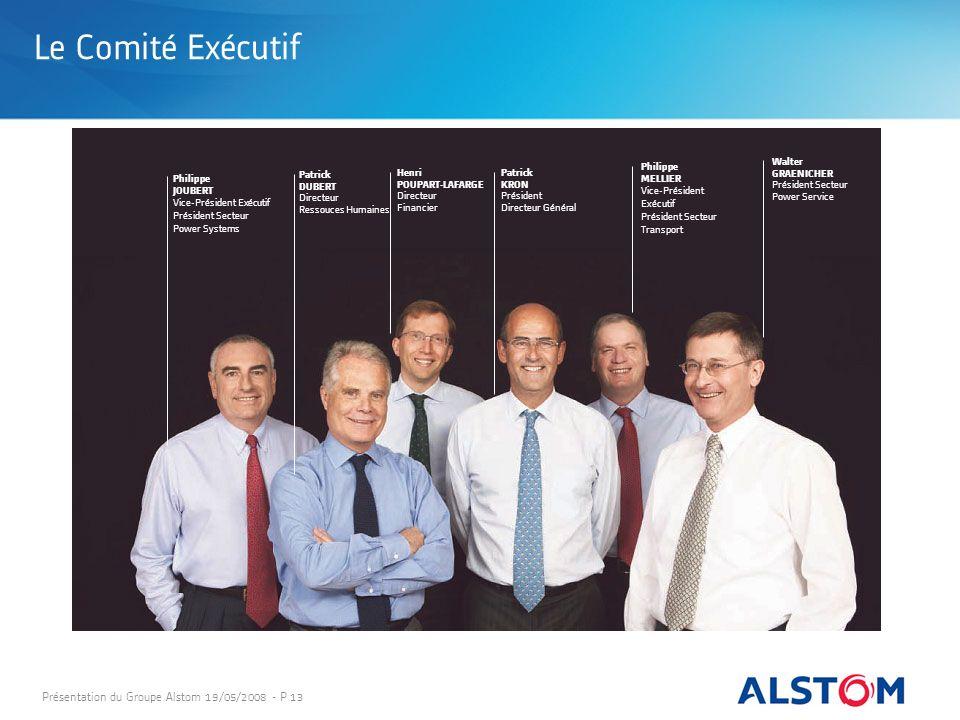 Présentation du Groupe Alstom 19/05/2008 - P 13 Henri POUPART-LAFARGE Directeur Financier Patrick DUBERT Directeur Ressouces Humaines Patrick KRON Pré
