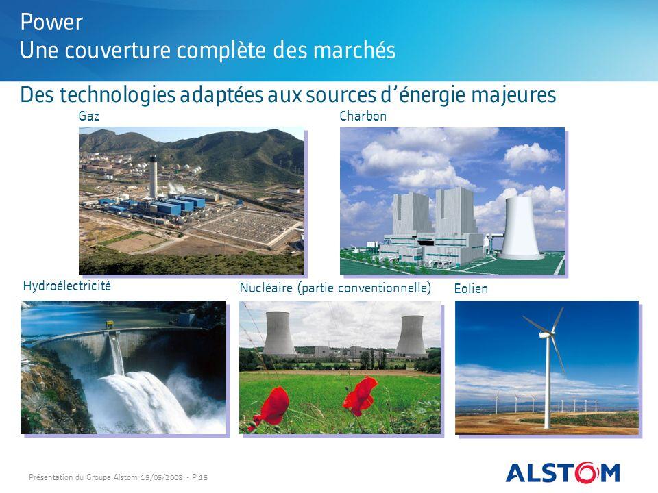 Présentation du Groupe Alstom 19/05/2008 - P 15 Des technologies adaptées aux sources dénergie majeures Power Une couverture complète des marchés GazC