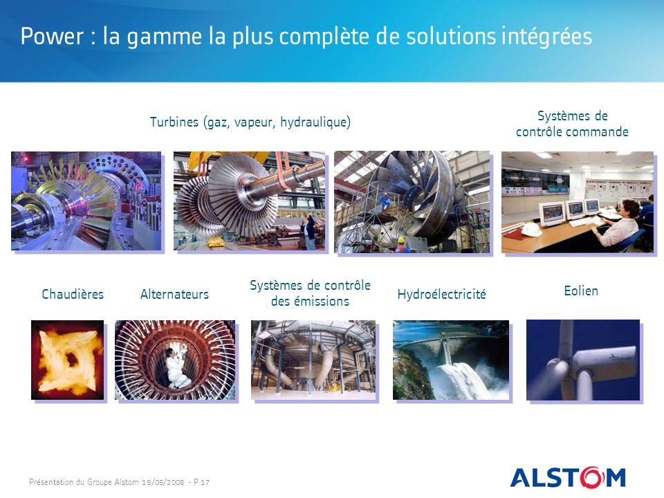 Présentation du Groupe Alstom 19/05/2008 - P 17 Alternateurs Systèmes de contrôle commande Hydroélectricité Systèmes de contrôle des émissions Chaudiè
