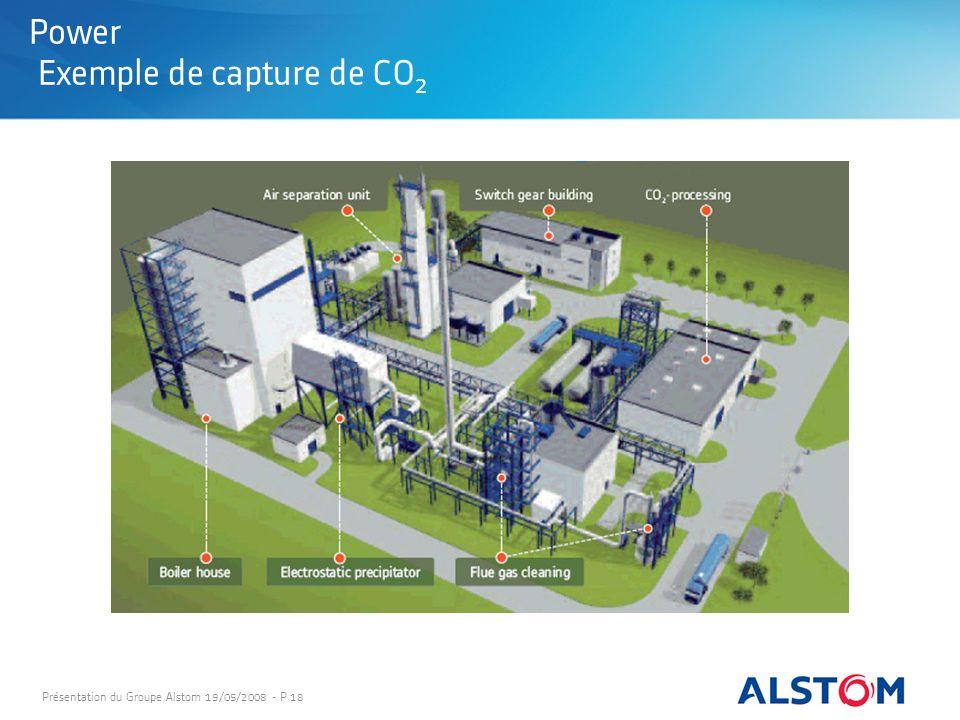 Présentation du Groupe Alstom 19/05/2008 - P 18 Power Exemple de capture de CO 2