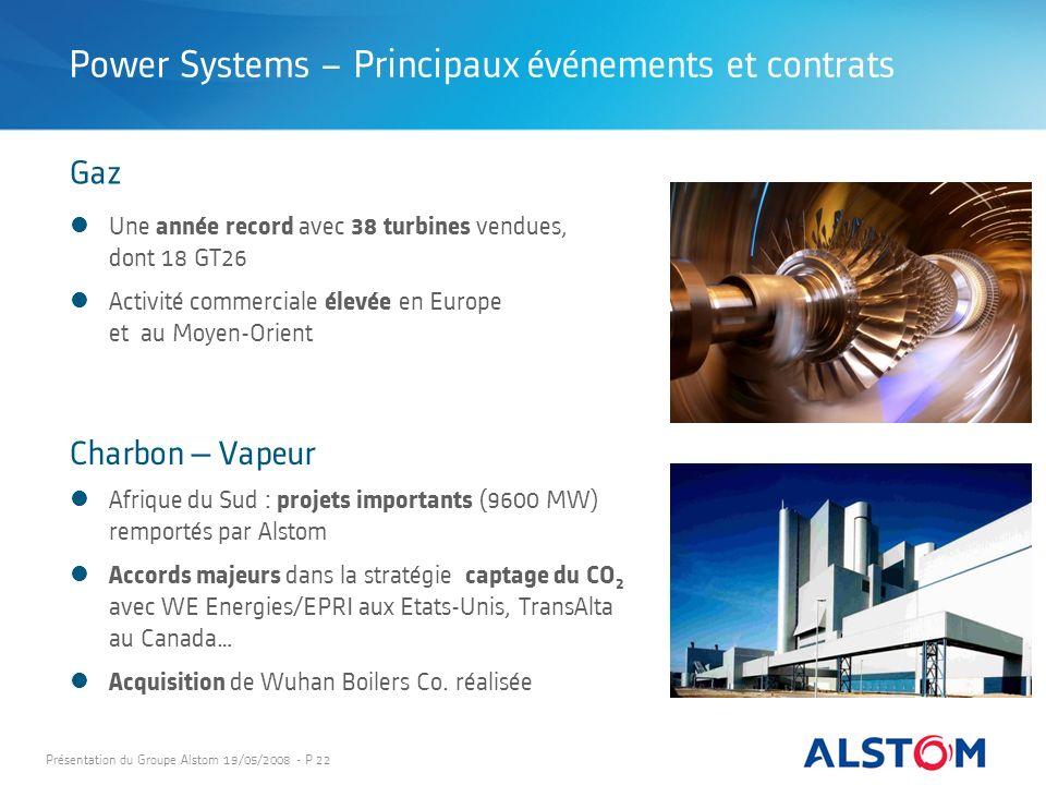 Présentation du Groupe Alstom 19/05/2008 - P 22 Afrique du Sud : projets importants (9600 MW) remportés par Alstom Accords majeurs dans la stratégie c