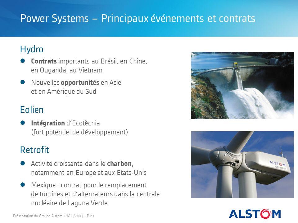 Présentation du Groupe Alstom 19/05/2008 - P 23 Contrats importants au Brésil, en Chine, en Ouganda, au Vietnam Nouvelles opportunités en Asie et en A