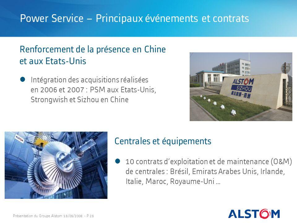 Présentation du Groupe Alstom 19/05/2008 - P 25 10 contrats dexploitation et de maintenance (O&M) de centrales : Brésil, Emirats Arabes Unis, Irlande,