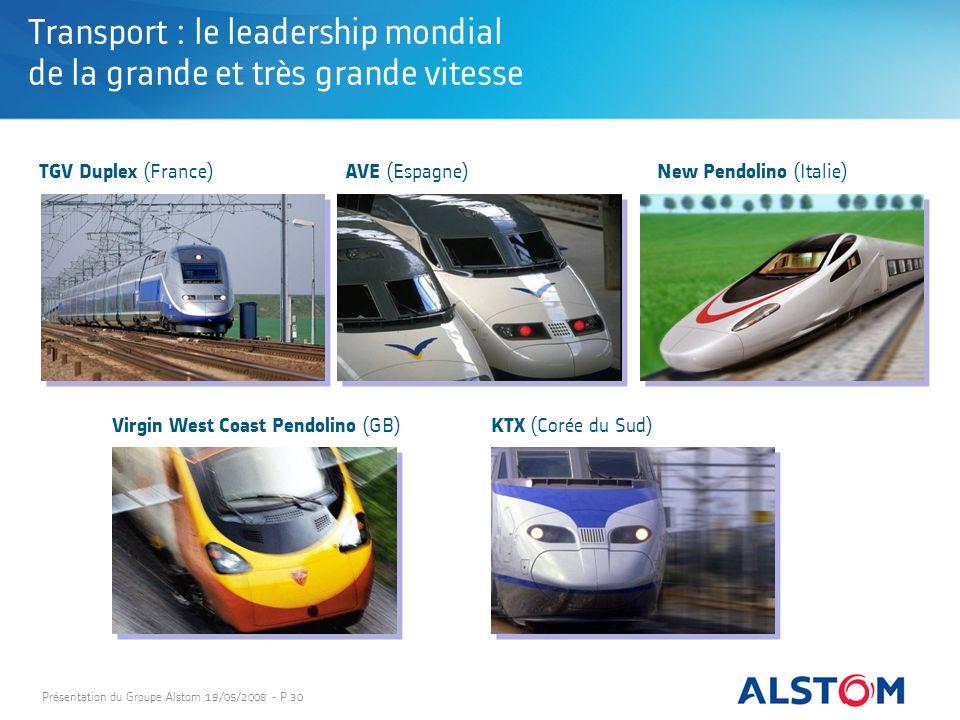 Présentation du Groupe Alstom 19/05/2008 - P 30 Transport : le leadership mondial de la grande et très grande vitesse Virgin West Coast Pendolino (GB)