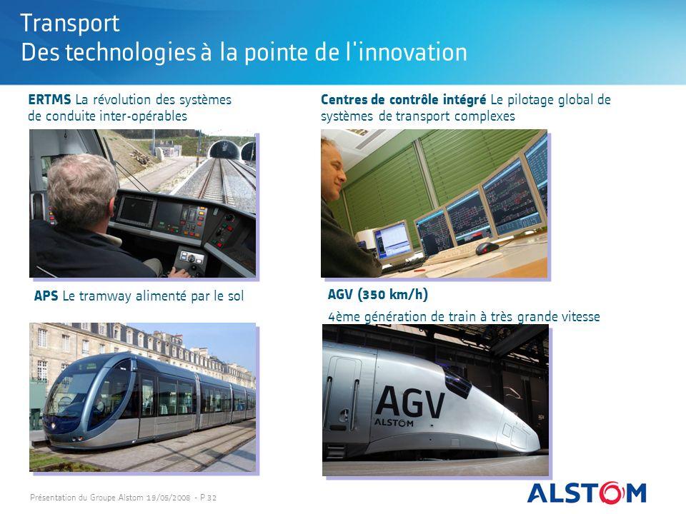 Présentation du Groupe Alstom 19/05/2008 - P 32 Transport Des technologies à la pointe de l'innovation APS Le tramway alimenté par le sol ERTMS La rév