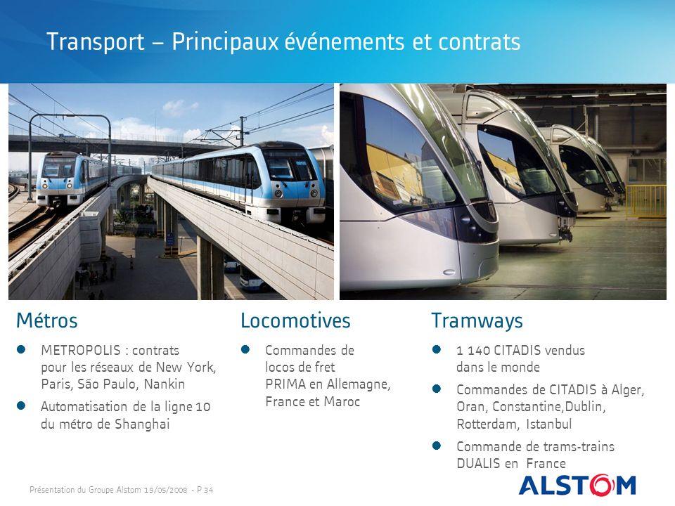 Présentation du Groupe Alstom 19/05/2008 - P 34 MétrosTramways 1 140 CITADIS vendus dans le monde Commandes de CITADIS à Alger, Oran, Constantine,Dubl