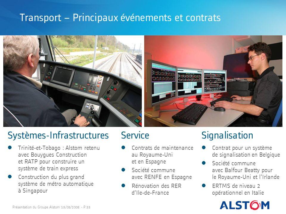 Présentation du Groupe Alstom 19/05/2008 - P 35 Systèmes-InfrastructuresServiceSignalisation Contrats de maintenance au Royaume-Uni et en Espagne Soci