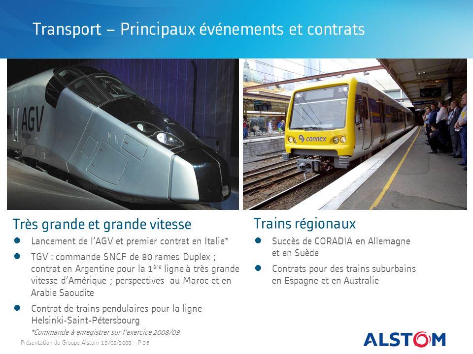 Présentation du Groupe Alstom 19/05/2008 - P 36 Très grande et grande vitesse Succès de CORADIA en Allemagne et en Suède Contrats pour des trains subu