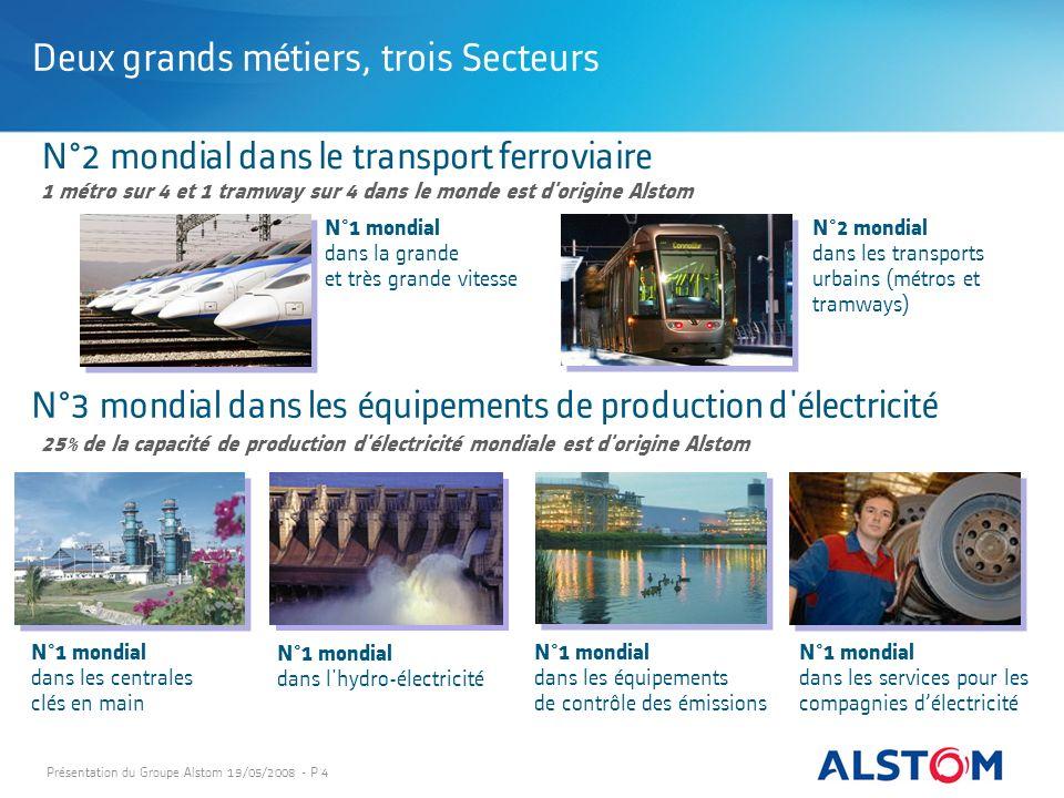 Présentation du Groupe Alstom 19/05/2008 - P 4 N°2 mondial dans le transport ferroviaire Deux grands métiers, trois Secteurs N°1 mondial dans la grand