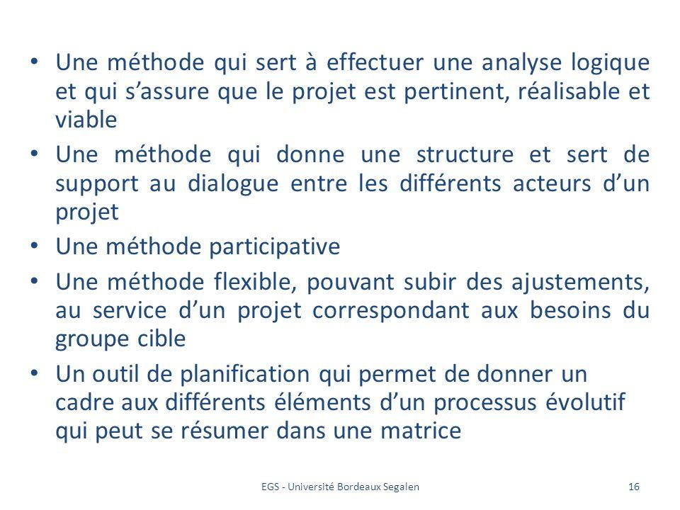 EGS - Université Bordeaux Segalen16 Une méthode qui sert à effectuer une analyse logique et qui sassure que le projet est pertinent, réalisable et via