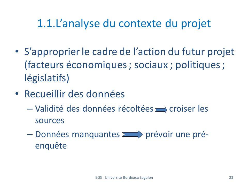 EGS - Université Bordeaux Segalen23 1.1.Lanalyse du contexte du projet Sapproprier le cadre de laction du futur projet (facteurs économiques ; sociaux
