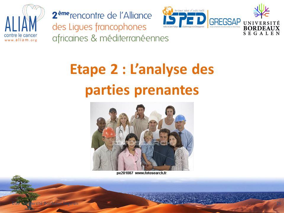 Etape 2 : Lanalyse des parties prenantes EGS - Université Bordeaux Segalen26