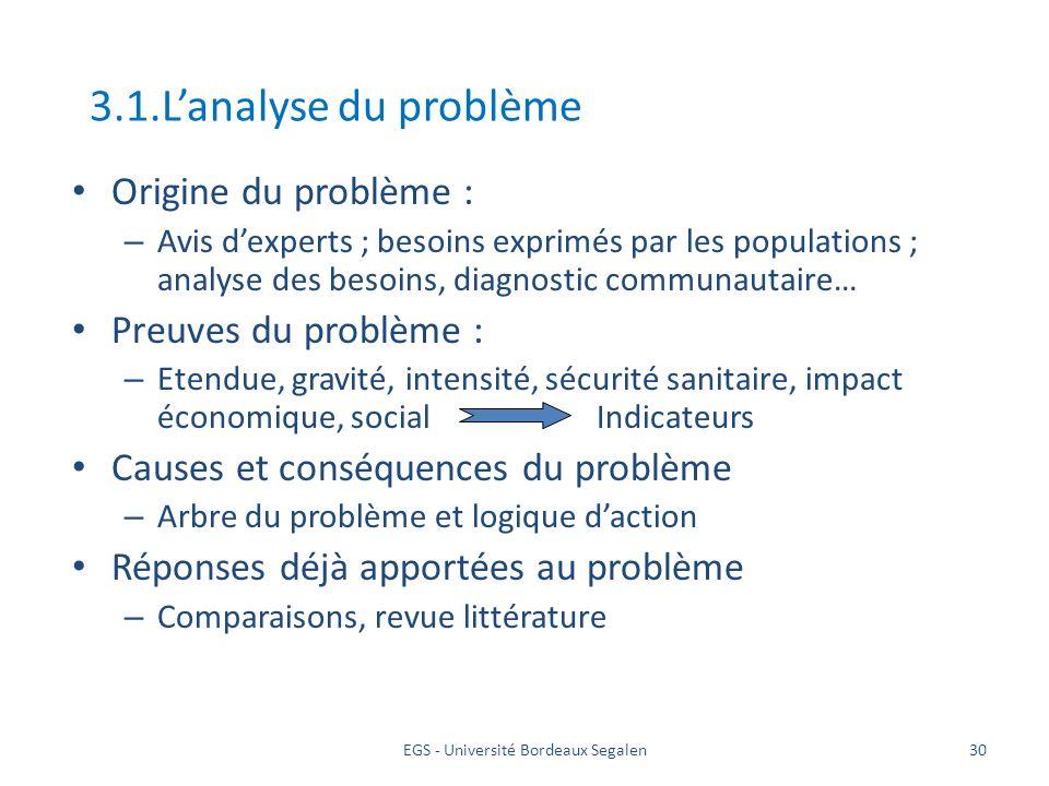 EGS - Université Bordeaux Segalen30 3.1.Lanalyse du problème Origine du problème : – Avis dexperts ; besoins exprimés par les populations ; analyse de