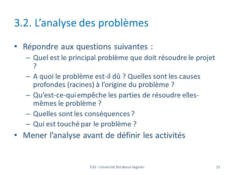 EGS - Université Bordeaux Segalen31 3.2. Lanalyse des problèmes Répondre aux questions suivantes : – Quel est le principal problème que doit résoudre