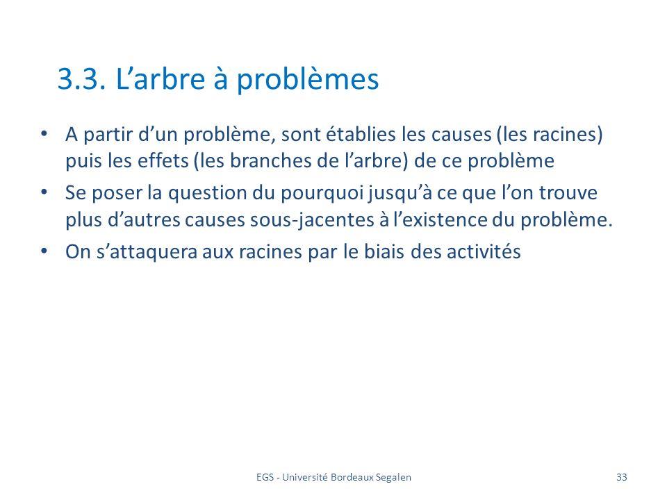 EGS - Université Bordeaux Segalen33 3.3. Larbre à problèmes A partir dun problème, sont établies les causes (les racines) puis les effets (les branche
