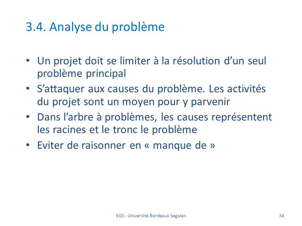 EGS - Université Bordeaux Segalen34 3.4. Analyse du problème Un projet doit se limiter à la résolution dun seul problème principal Sattaquer aux cause