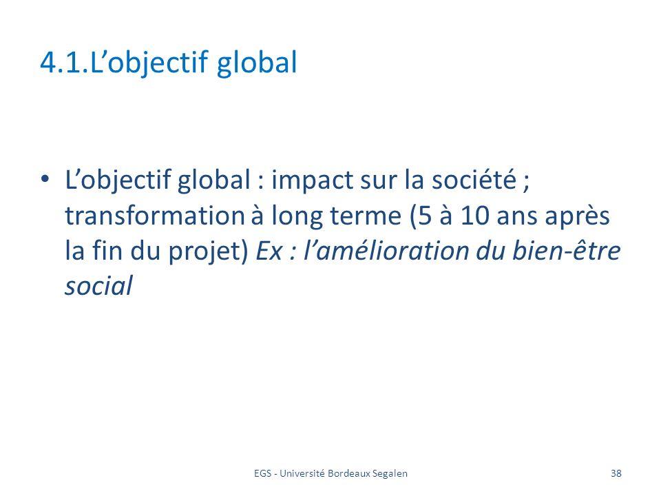 EGS - Université Bordeaux Segalen38 4.1.Lobjectif global Lobjectif global : impact sur la société ; transformation à long terme (5 à 10 ans après la f