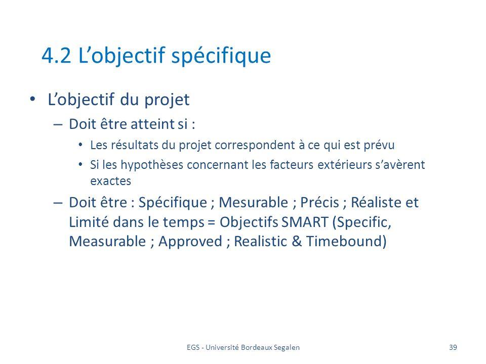 EGS - Université Bordeaux Segalen39 4.2 Lobjectif spécifique Lobjectif du projet – Doit être atteint si : Les résultats du projet correspondent à ce q