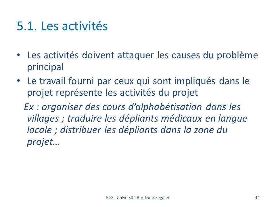 EGS - Université Bordeaux Segalen44 5.1. Les activités Les activités doivent attaquer les causes du problème principal Le travail fourni par ceux qui