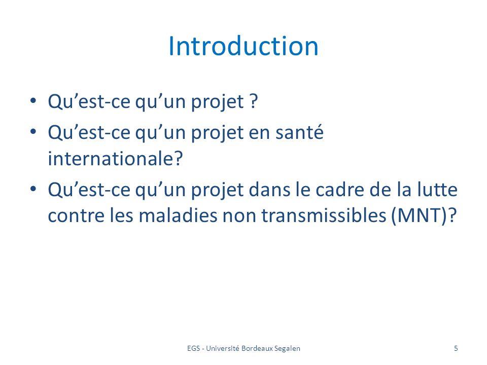 5 Introduction Quest-ce quun projet ? Quest-ce quun projet en santé internationale? Quest-ce quun projet dans le cadre de la lutte contre les maladies