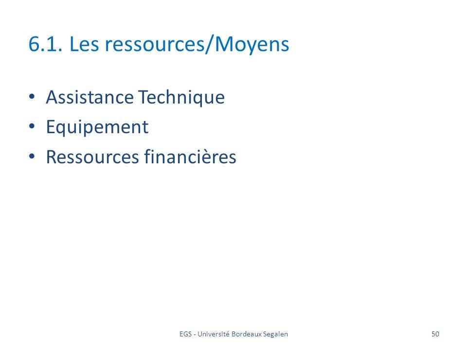 EGS - Université Bordeaux Segalen50 6.1. Les ressources/Moyens Assistance Technique Equipement Ressources financières