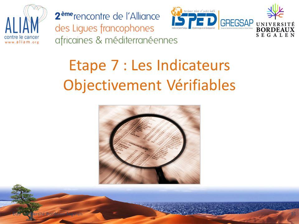 Etape 7 : Les Indicateurs Objectivement Vérifiables EGS - Université Bordeaux Segalen51