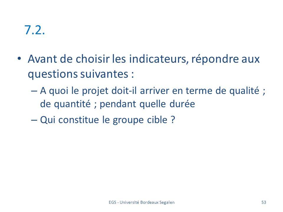 EGS - Université Bordeaux Segalen53 7.2. Avant de choisir les indicateurs, répondre aux questions suivantes : – A quoi le projet doit-il arriver en te