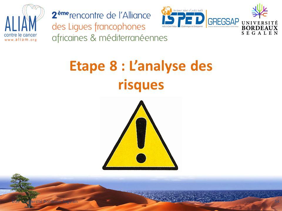 Etape 8 : Lanalyse des risques EGS - Université Bordeaux Segalen54