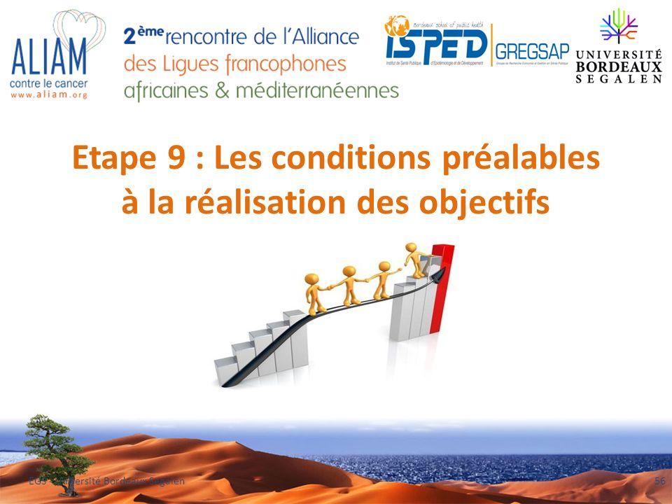 Etape 9 : Les conditions préalables à la réalisation des objectifs EGS - Université Bordeaux Segalen56