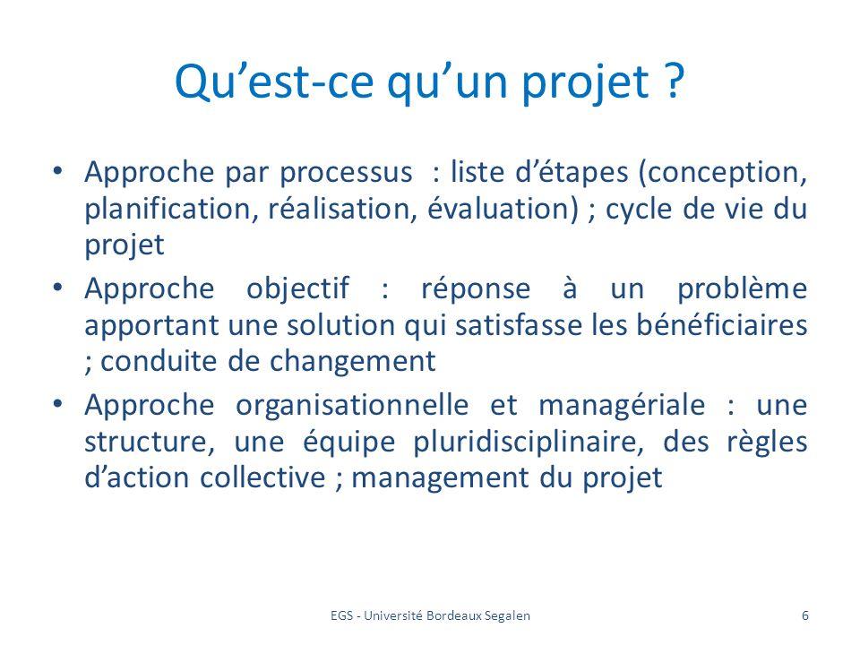EGS - Université Bordeaux Segalen6 Quest-ce quun projet ? Approche par processus : liste détapes (conception, planification, réalisation, évaluation)
